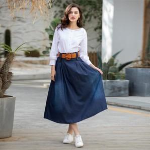 S~7L★大きいサイズ レディーススカート ベルト付き プリーツ入りロングスカート デニムスカート
