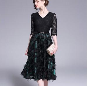 ★S~3L★結婚式  パーティー 異素材切替 上品艶感 タッセル 星柄 取り外しベルト ドレス ワンピース