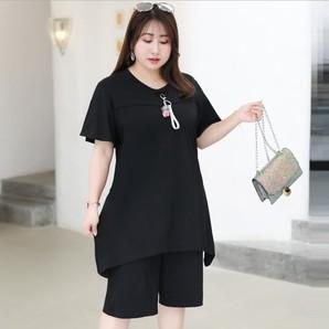 ★5L~9L★大きいサイズ★ぽっちゃりさん  出かけ Tシャツ+七分丈パンツ セットアップ