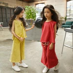 ★夏涼しい 親子ペア キッズ 子供 可愛いフレア ノースリーブブラウス+ワイトパンツ セットアップ