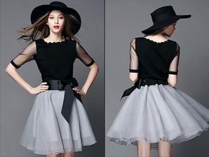 ★半額セール!人気デザイン 大人上品 花びらネック 2枚セット 五分袖 ドレス ツーピース