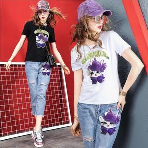 ★ジーンズ ダメージジーンズ 可愛い猫ワッペン Tシャツ デニムパンツ ダメージデニムセットアップ